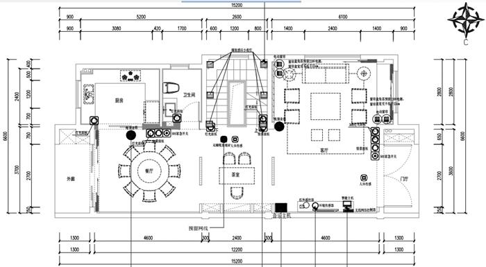 一层背景音乐系统(图中黑色圆点为系统安装位置)
