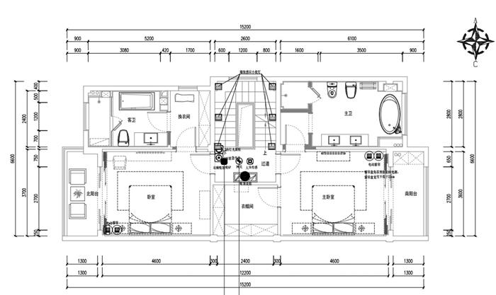 二层背景音乐系统(黑色圆点为系统安装位置)