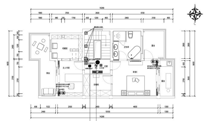 三层背景音乐系统(黑色圆点为系统安装位置)