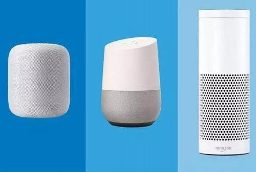 从左至右:苹果HomePod、谷歌Google Home、亚马逊Echo
